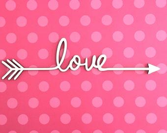 "Love Arrow Cutout - Laser Cut 1/8"""