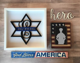 Police Monogram, 6 Point Badge, Thin Blue Line, Brothers in blue,  American Hero, Retirement gift, Personalized Badge, Sheriff Badge, Deputy