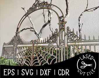 Miniature Tabletop Cemetery Gates Decoration for Halloween Decor, Laser Cut File, for Glowforge, Epilog, Projects Laser Cutting Download