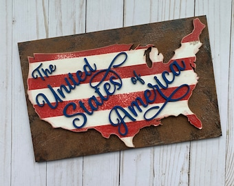 The United States of America Layered Sign Laser Cut File for Glowforge Epilog Projects Laser Cutting Download