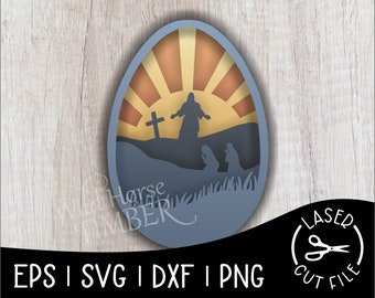 Layered Scene Easter Egg He Is Risen Laser SVG Cut File for Glowforge Epilog Projects Laser Cutting Download