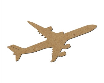 Airplane Silhouette/Design F/Unfinished wood cutout/DIY craft cutout/Multiple sized cutout/Wood craft shapes/craft wood cutouts/wood blanks