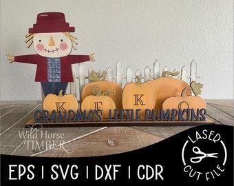 Grandmas Little Pumpkins Personalized Grandkids Sign Fall Decor Laser Cut File for Glowforge Epilog Projects Laser Cutting Download