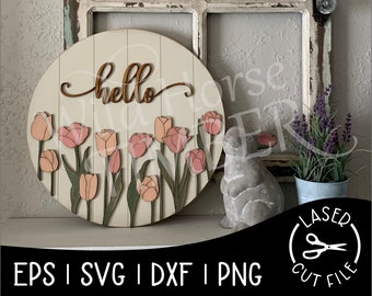 Spring Tulips Round Sign Easter Decor Tulip Field Laser SVG Cut File for Glowforge Epilog Projects Laser Cutting Download