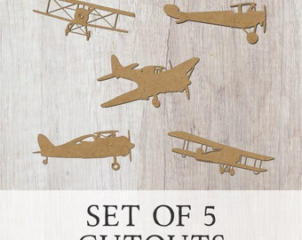 Airplane Silhouette Set of 5/Unfinished wood cutout/DIY craft cutout/Multiple sized cutout/Wood craft shapes/craft wood cutouts/wood blanks
