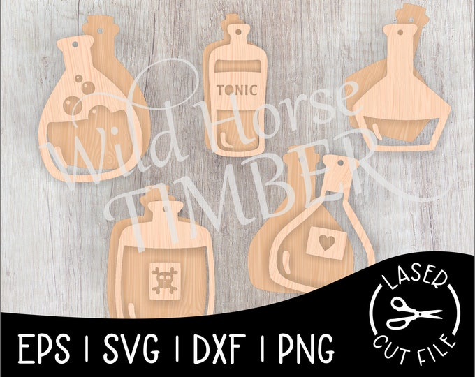 Featured listing image: Dimensional Potion Bottle Banner Halloween Decoration Laser Cut File for Glowforge Epilog Projects Laser Cutting Download