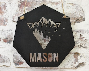 Geometric Shaped Hanging Sign With Names Laser Cut File for Glowforge Epilog Projects Laser Cutting Download