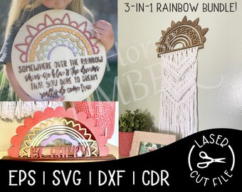 Rainbow Sign Bundle Macrame Somewhere Over the Rainbow Laser SVG Cut File for Glowforge Epilog Projects Laser Cutting Download