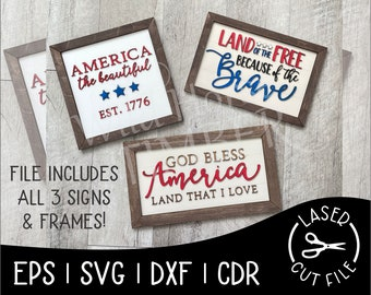 Patriotic July Independence Day USA Home of the Free America Signs Laser Cut File for Glowforge Epilog Projects Laser Cutting Download