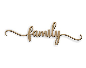Family Cutout, Wood family, Wreath Embellishment, Door Hanger, Wood craft words, Greeting cutout, Farmhouse greeting, Magnolia greeting