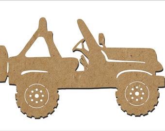 Jeep Silhouette/4 wheeling/Unfinished wood cutout/DIY craft cutout/Multiple sized cutout/Wood craft shapes/craft wood cutouts/wood blanks