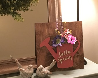 Spring watering can, Spring sign kit, Hello spring sign, watering can cutout, spring flowers, farmhouse decor, Spring wreath cutout