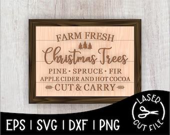 Farm Fresh Christmas Tree Sign Tree Farm Laser Cut File for Glowforge Epilog Projects Laser Cutting Download