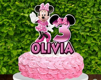 Minnie Mouse Cake Topper,Minnie Mouse Birthday,Fun Number Birthday,Minnie Mouse party,Aqua Glitter Cake Topper,Birthday Cake Topper 0273