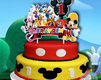 Surprising Mickey Mouse Cake Topper Etsy Personalised Birthday Cards Veneteletsinfo