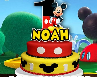 Brilliant Mickey Mouse Cake Topper Etsy Personalised Birthday Cards Petedlily Jamesorg