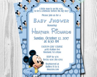 BABY Mickey Mouse Baby Shower Invitation,  Baby Mickey Mouse Invitations, Baby Shower Invitation, Belle Invitation, DIGITAL or PRINTED