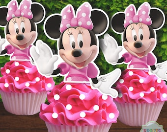 MINNIE MOUSE Cupcake Toppers, PINK Minnie Mouse Cupcake Toppers, Minnie Mouse Marshmallow Toppers, Minnie Mouse Cake Pop Toppers