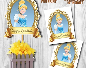 Cinderella Centerpiece, Disney Princess Cinderella Centerpiece, Cinderella Cake Topper, Double-Sided, Digital File, You Print