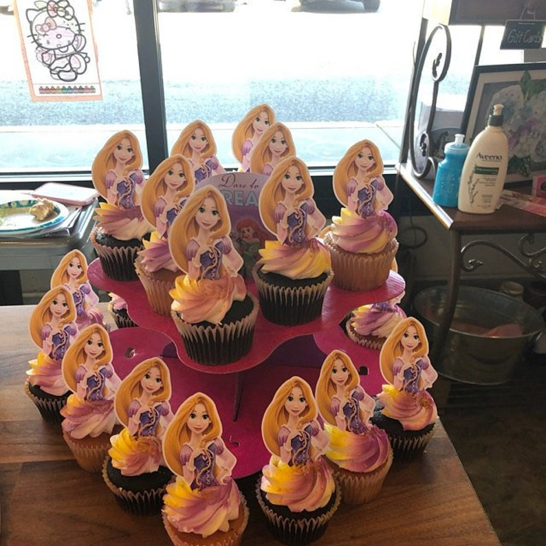 Rapunzel Cupcake Picks Disney TANGLED Cupcake Toppers Cake Topper Princess RAPUNZEL Cake Pop Toppers Birthday RAPUNZEL Cupcake Toppers
