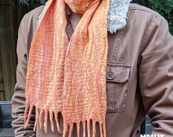 Wet felted wool scarf in orange, Nuno felted scarf