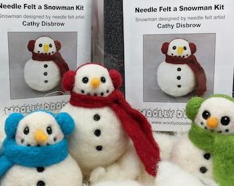 Snowman Ornament Needle Felt Kit, DIY craft kit, Felt a Snowman with Earmuffs and Scarf, Felting Kit