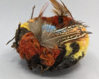 Felted Bird Nest in Warm colors with Blue Eggs