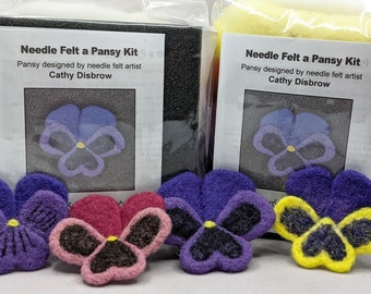 Pansy Flower Needle Felt Kit, DIY craft kit, Felting Kit, Pin kit