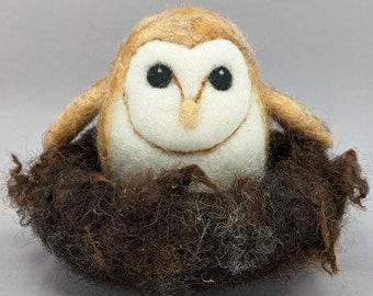 Barn Owlet in Nest, needle felted Wool Sculpture