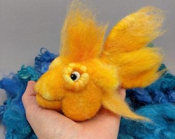 Goldfish needle felt Wool Sculpture in Orange