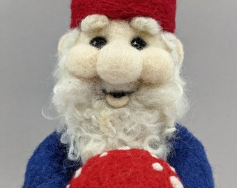Gnolan Garden Gnome needle felt Wool Sculpture with removeable Toadstool