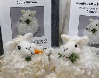 Chewing Sheep Puff needle felt Kit, DIY craft kit, Sheep Felting Kit