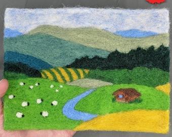 Paint By Number Needle Felt Landscape Painting Kit, Ontario wool, DIY craft, Felt Painting Kit