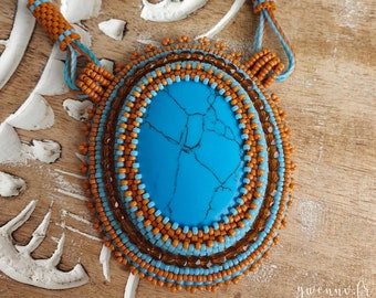 Bead embroidered necklace with Howlite stone, Turquoise & Orange seed bads. Tinted stone, handmade, OOAK