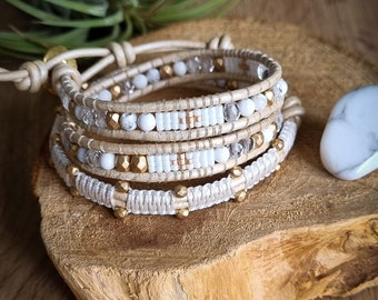Bracelet Wrap in Howlite, white and gold glass beads, macramé. Lithotherapy