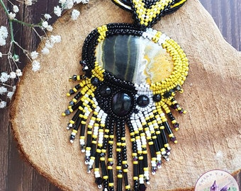 Bead embroidered necklace with Bumblebee Jasper - Yellow and Black - Seed beads, Swarovski Crystals, embroidery, crystal healing. OOAK