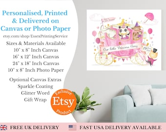 Personalised Princess Prints, Canvas Print, Nursery Decor, Nursery Prints, Girls Bedroom Prints, Princess Prints, Princess Decor, Pink