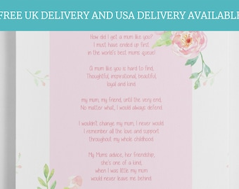 Mothers Day Gift - Gift For Mum, Mother's Day gifts, Mum Poem, Keepsake For Mum, Worlds Best Mum, Mum Gifts, Thank You Mum,