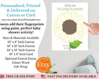 Boho wedding guestbook alternative Sunflower fingerprint sunflower wedding fingerprint tree thumbprint flower birthday decor