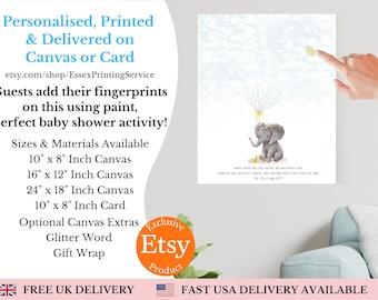 Baby Shower | Personalised | Finger Print | Keepsake | Fun Alternative Guest Book | UK seller | Canvas