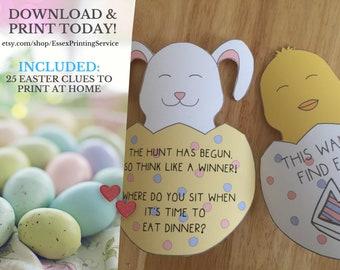 Easter Scavenger Hunt Game Template, Kids Easter Treasure Hunt Clues, Printable Clues Easter Basket Hunt Easter Egg Hunt Activity