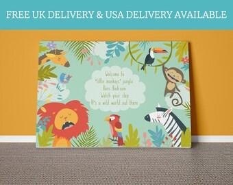 Baby jungle bedroom personalised baby childrens keepsake newborn babies nursery gift little boys decor