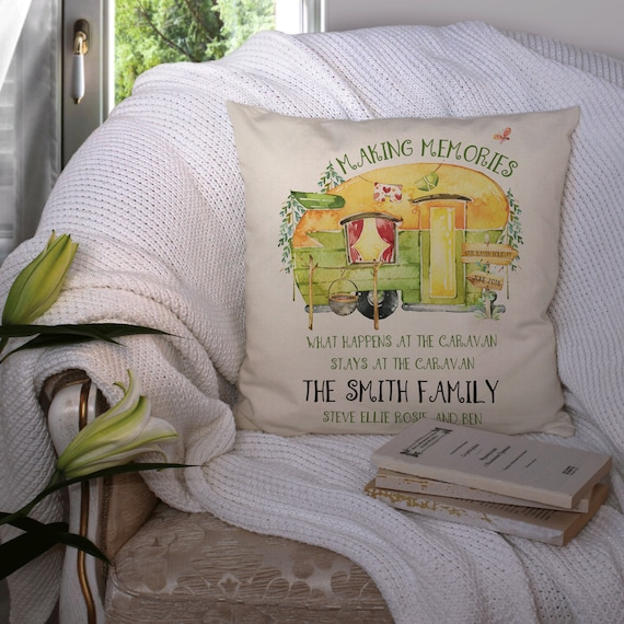 """Personalised shabby vintage chic tent 16/"""" cushion cover camping caravan gift"""