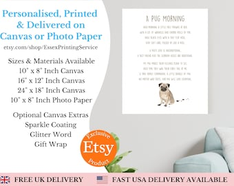 Personalised Pug Print - Custom Word Wall Art Picture - Dog Lover Gifts - For Him, Her, Men, Women, Girls, Boys, Kids