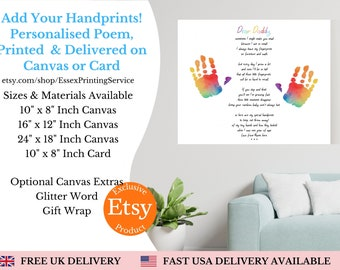 Personalised Dad Appreciation Canvas, Custom Dad And Children Handprints Wall Art, Fatherhood Canvas, Father's Day Gift For Dad