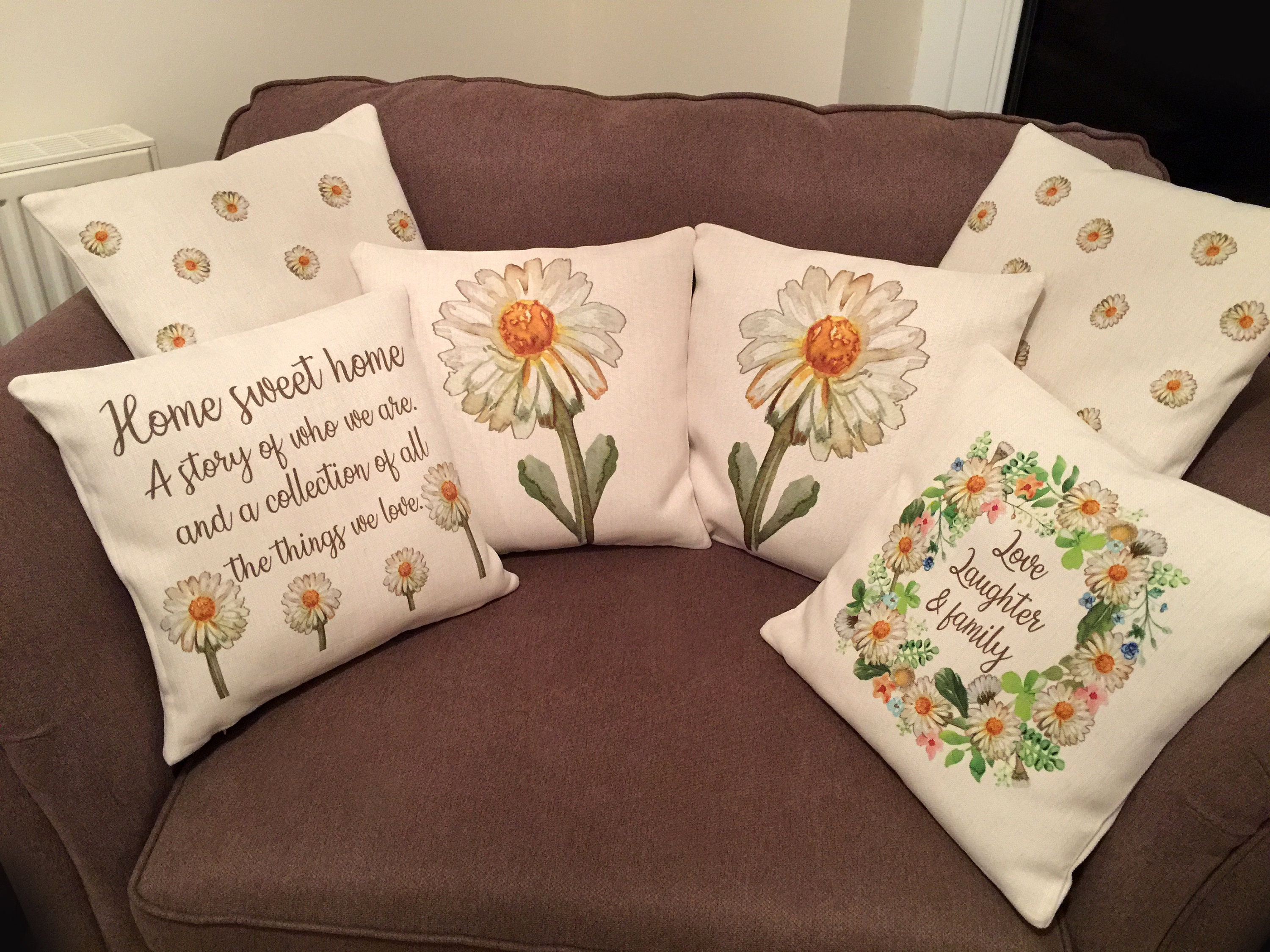 Shabby Chic Living Room Rustic Country Style Home Personalised Cushion Family Farmhouse Decor New Home Gifts Mothers Day Flower Theme Nan