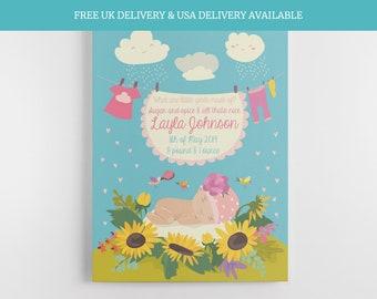 New baby gift newborn girl baby shower print babies keepsake baby shower for mum