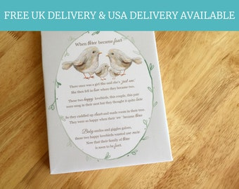 Mothers Day Gift - When three became four baby poem gifts for a new mum personalised baby shower keepsakes
