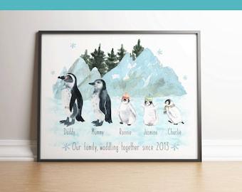 Christmas family decor, Family christmas print, personalised christmas, penguin family, festive, xmas,