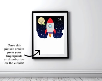 1st birthday idea rocket ship birthday party space baby shower fingerprint guestbook alternative little boys bedroom keepsake